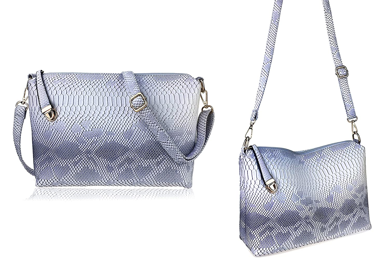 Amazon.com  Hoxis Pack of 7 Bags Women Multi-purpose Classic Design Patent  Purse Leather Leatherette Shoulder Handbag (Light Color Snake Pattern)   HOXIS 99902ba790df5