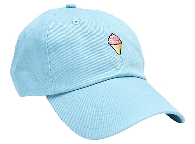 Skyed Apparel ICE CREAM Embroidery Adjustable Baseball Cap Baseball Hat Dad  Hat (Baby Blue) a0e63e7835e