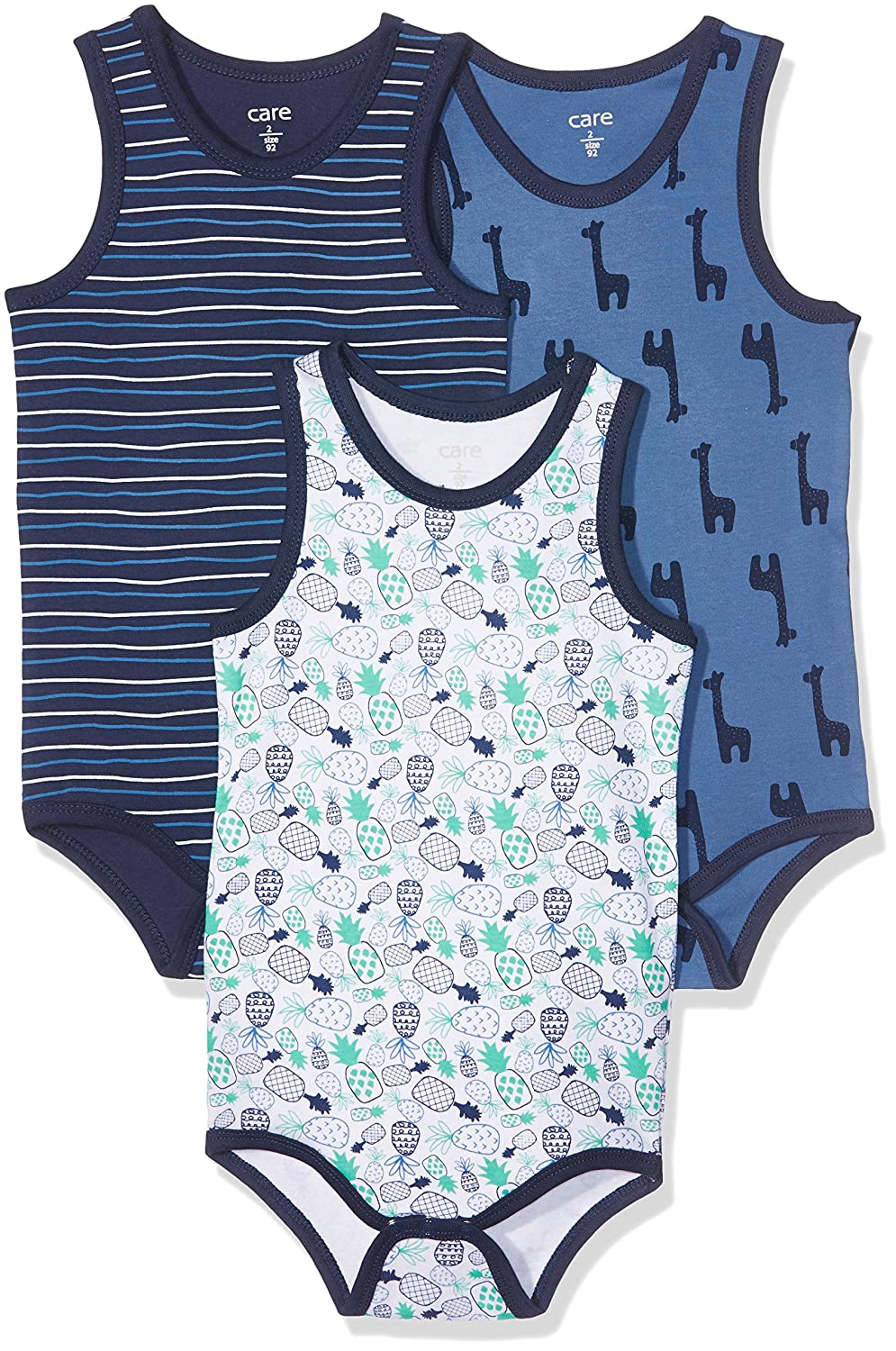 Care Baby Boys Bodysuit, Sleeveless, 3-Pack 4134