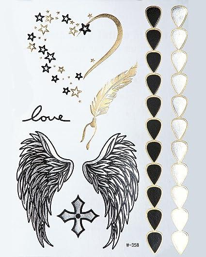 Tatuajes Flash Metálicos Oro + Plata Bling Body Alas Primavera ...