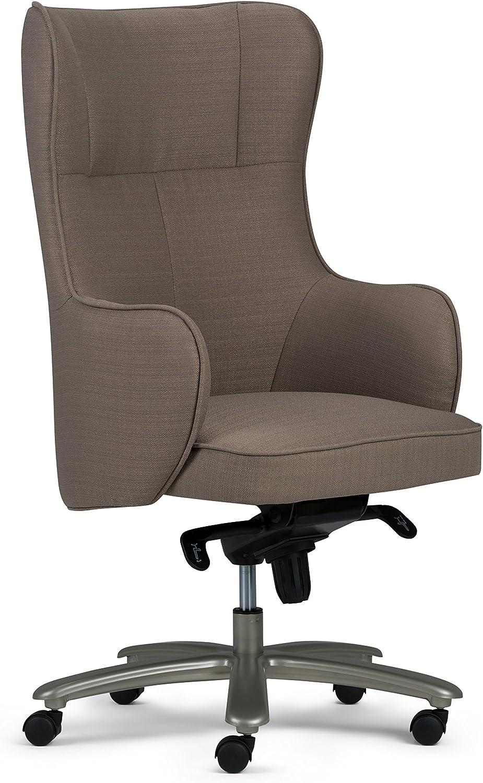 Simpli Home Leeds Swivel Adjustable Executive Computer Wingback Office Chair in Warm Grey