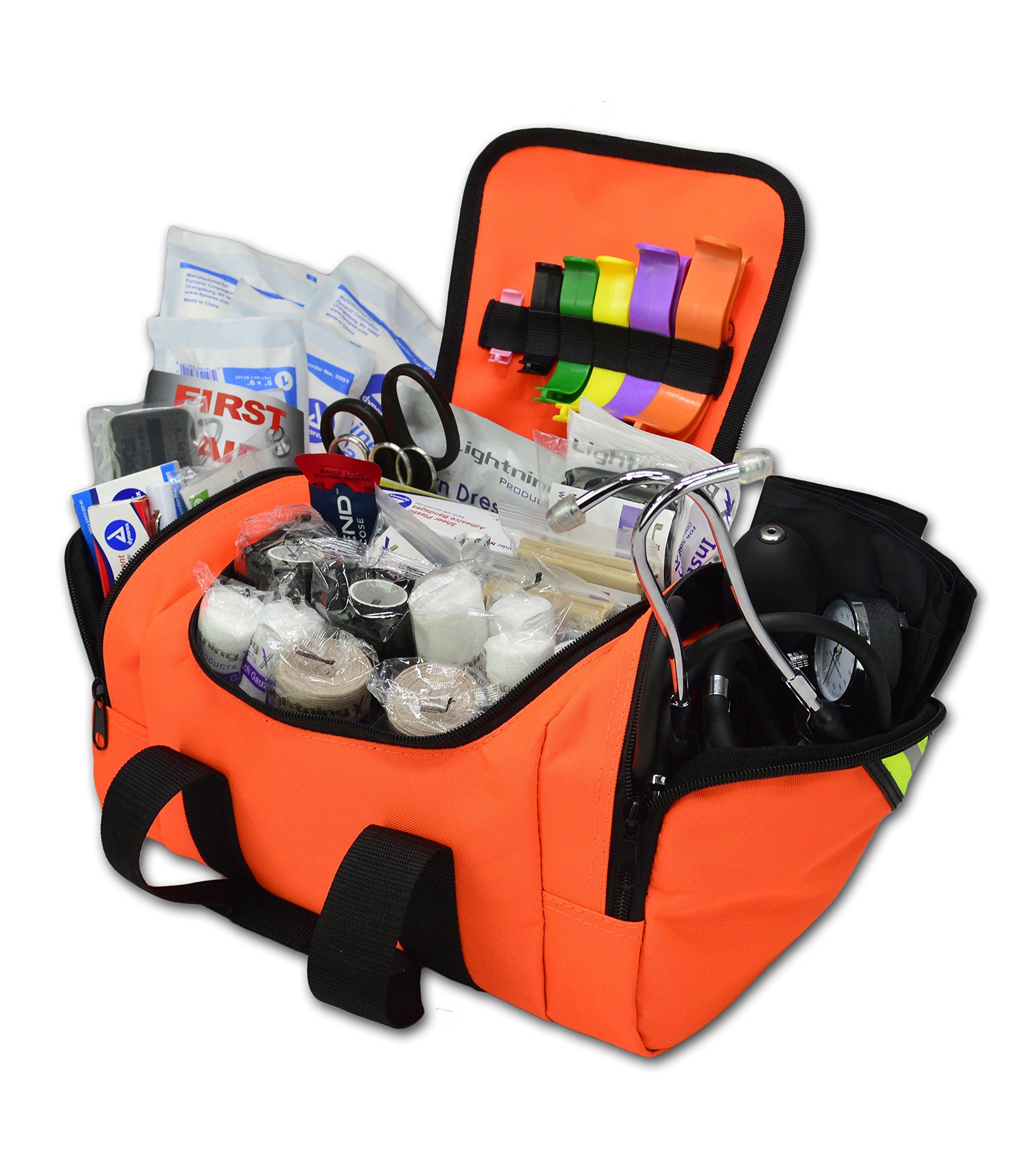 Lightning X Value Compact Medic First Responder EMS/EMT Stocked Trauma Bag w/Standard Fill Kit B - Orange by Lightning X Products (Image #1)