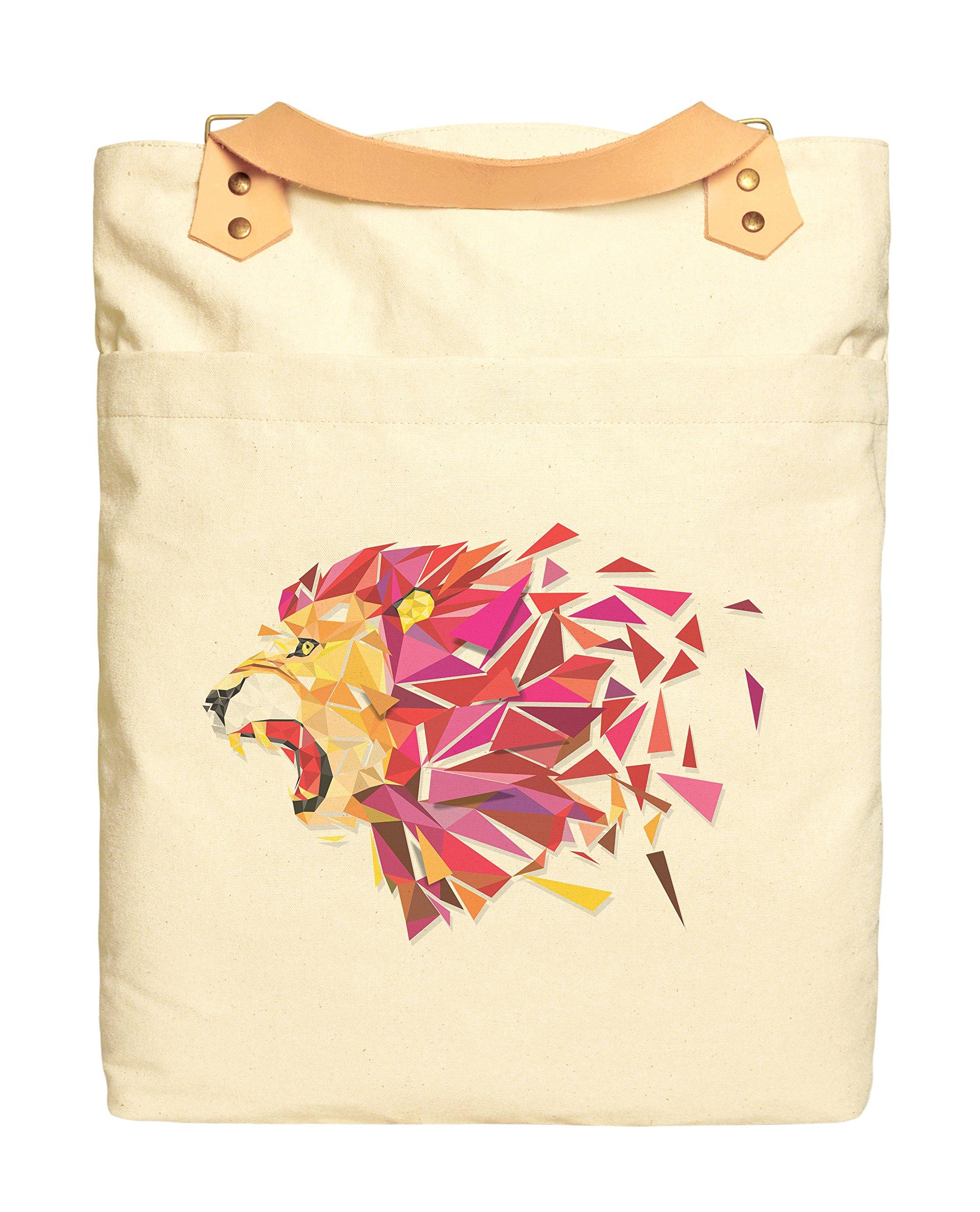 Unisex Polygon Lion Print Cotton Canvas Leather Straps Laptop Backpack WAS_34