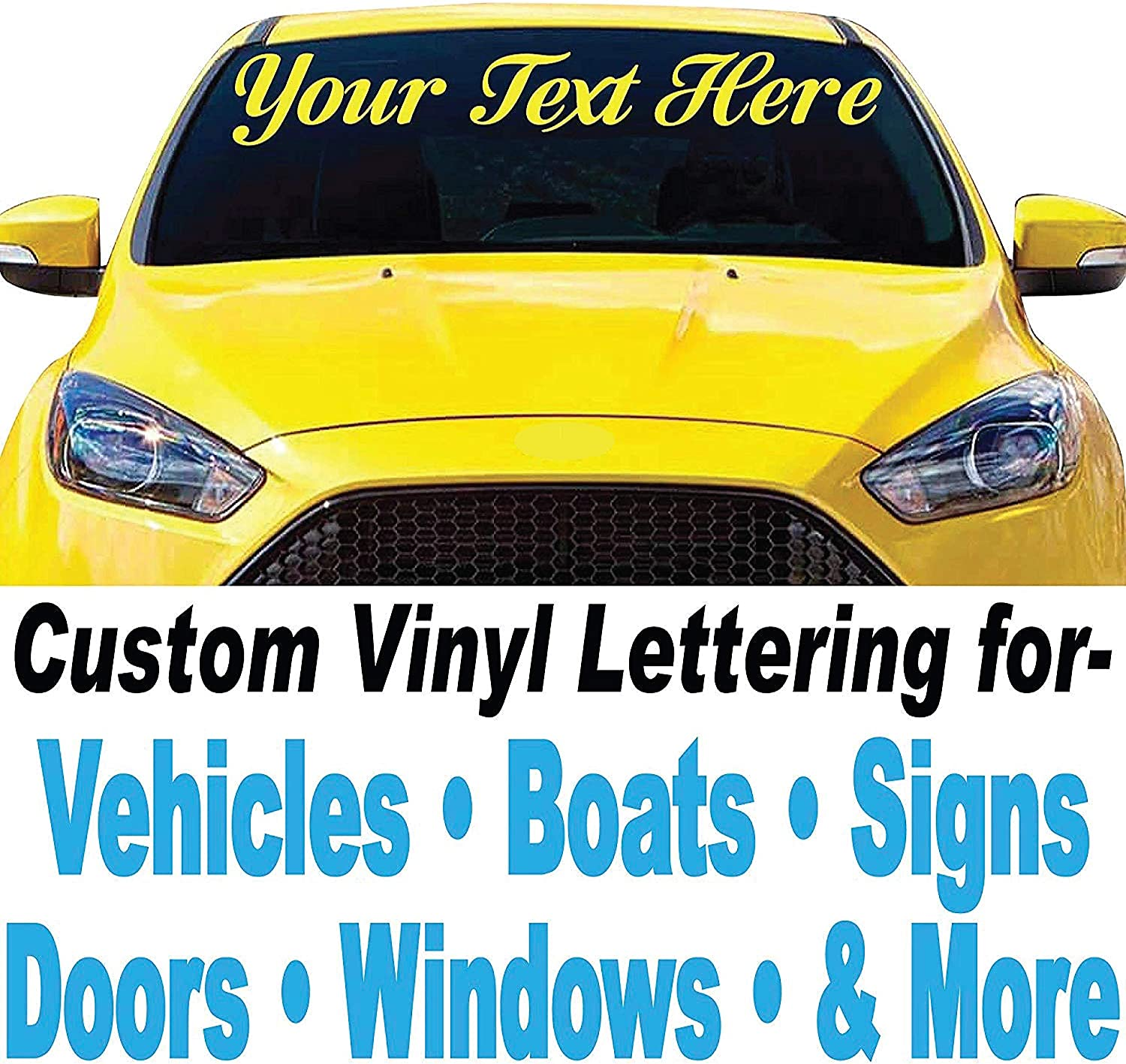 """Door Window Auto Text Decal 7/"""" High by Up to 48/"""" Long CUSTOM VINYL LETTERING"""