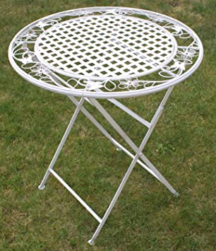 Maribelle   Runder Klapptisch   Gartenmöbel Mit Floralem Design   Metall    Weiß Mit Antik