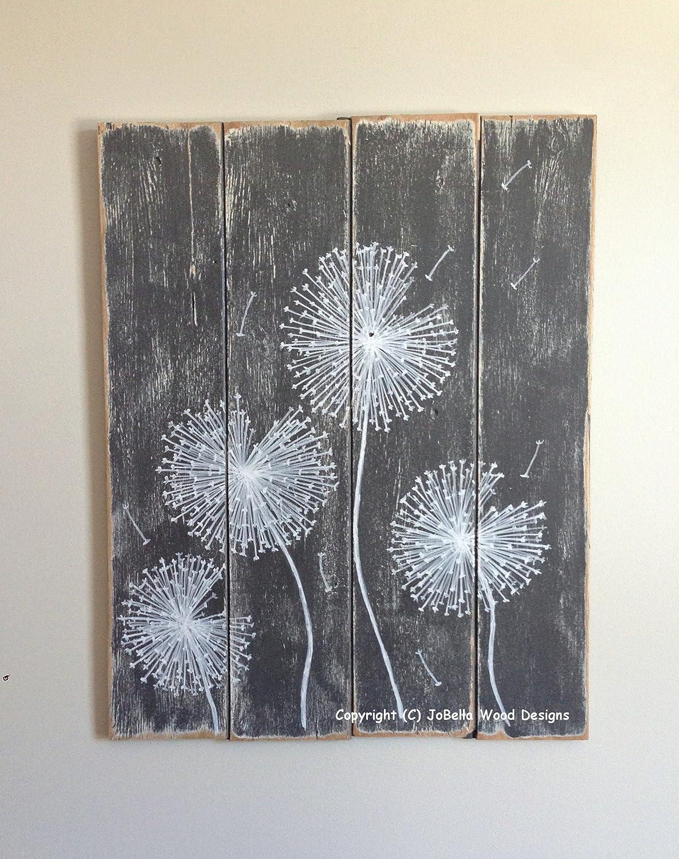 Peachy Amazon Com Dandelion Wood Painting Handmade Distressed Download Free Architecture Designs Itiscsunscenecom