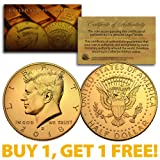 2018-D 24K GOLD Gilded JFK Kennedy Half Dollar Coin (D Mint) BUY 1 GET 1 FREE