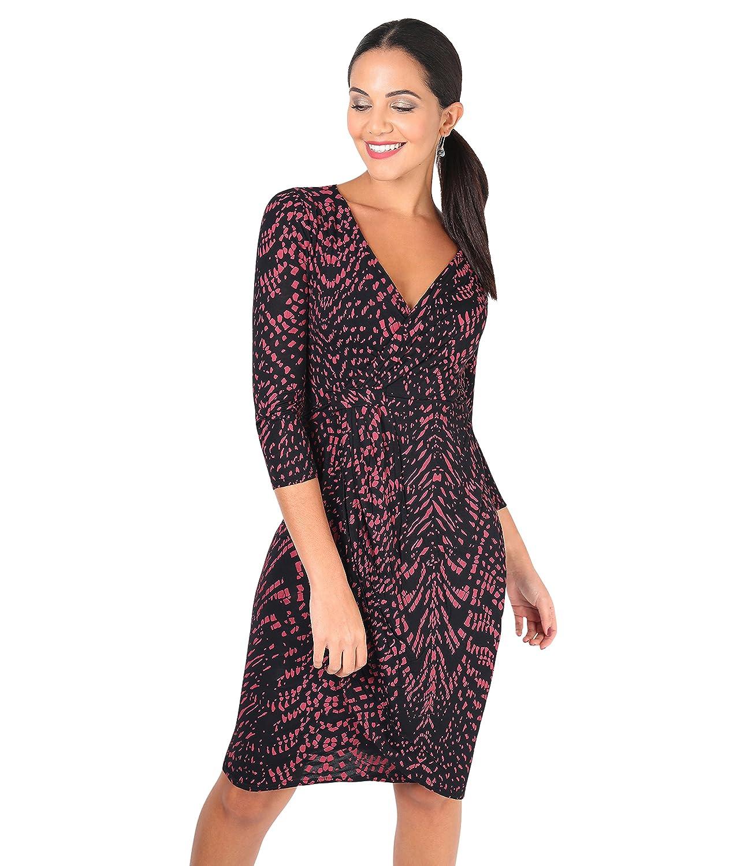 TALLA 46. KRISP Vestido Corto Ajustado Moda Mujer Burdeos/Negro (6609) 46