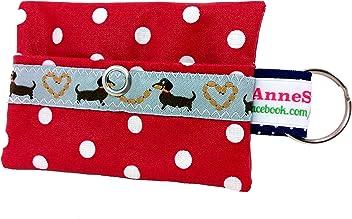 Kackbeutel rot Punkte Hundekotbeutel Spender Hundetüte Leckerli Tasche aus Wachstuch Gassi gehen Waste Geschenk Hundebesitzer Poop Bag Chien