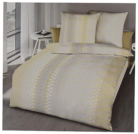Kaeppel Bettwäsche Set 135 X 200 Mako Satin Baumwolle Gelb Grau