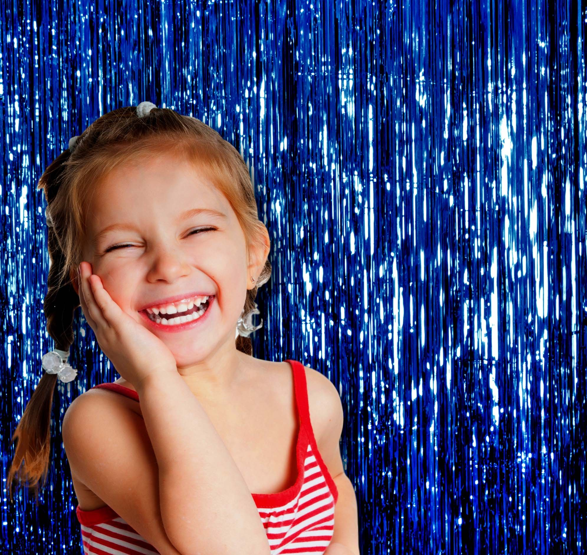 Blue Foil Fringe Curtain Party Decorations | 3 x 8 Feet, Pack of 3 | Metallic Tinsel Door and Window Curtains for Under the Ocean Sea Theme Decoration by Treasures Gifted (Image #4)