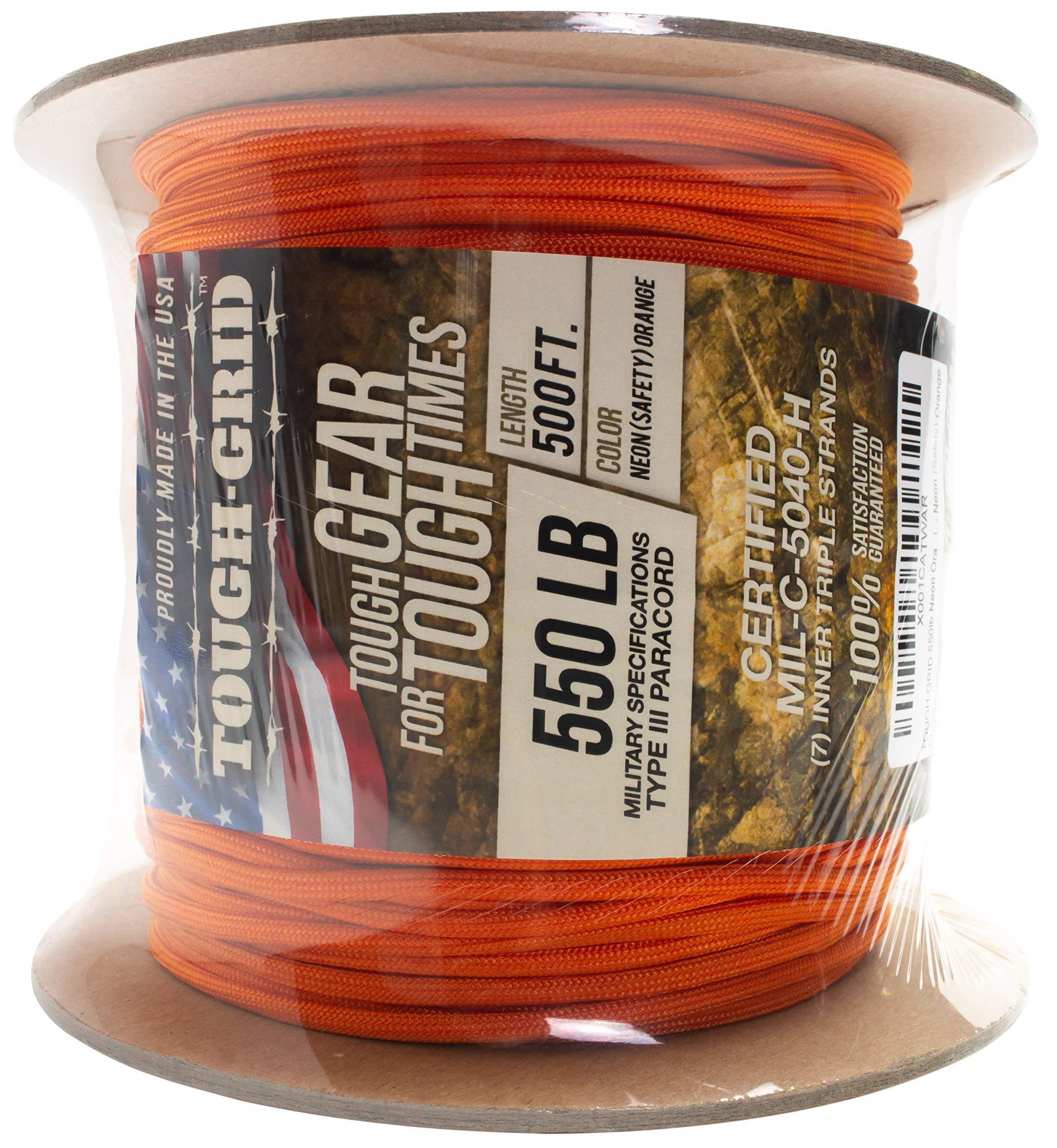 TOUGH-GRID 550lb Neon (Safety) Orange Paracord/Parachute Cord - Genuine Mil Spec Type III 550lb Paracord Used by US Military (MIl-C-5040-H) - 100% Nylon - Made in USA. 100Ft. - Neon (Safety) Orange by TOUGH-GRID