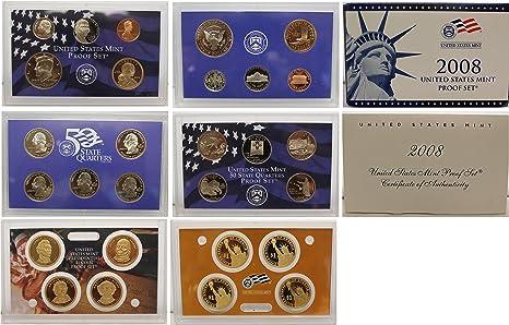 2008 S U.S box /& COA Mint 14-pc 90/% Silver Proof Set original packaging