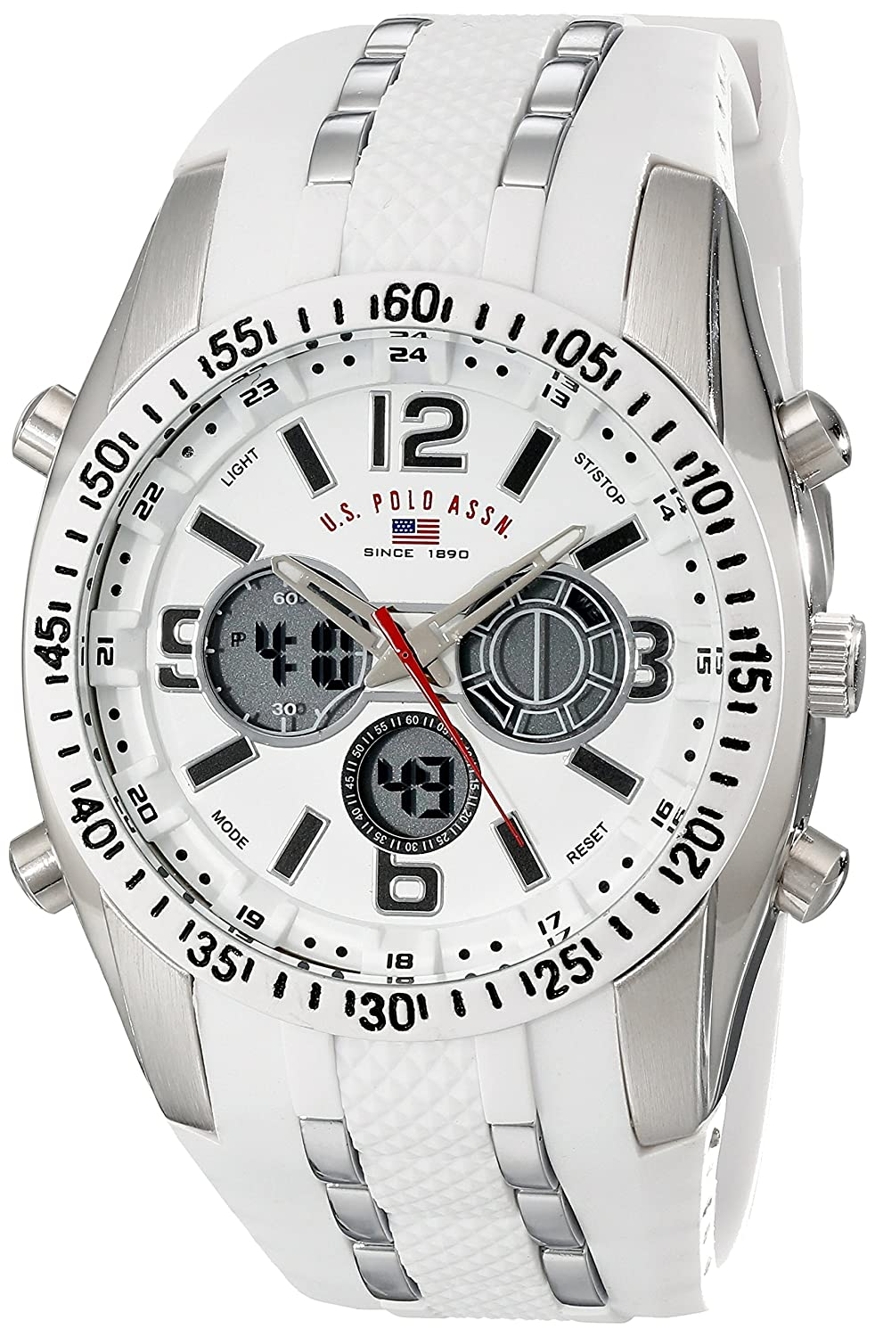 amazon com u s polo assn sport men s us9282 silver tone watch amazon com u s polo assn sport men s us9282 silver tone watch white silicone band watches
