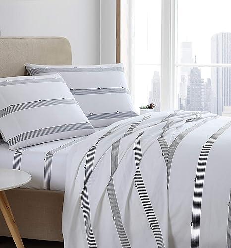Amazon Com Ed Ellen Degeneres Percale Collection Bed Sheet Set 100 Cotton Oeko Tex Certified Crisp Cool Lightweight Moisture Wicking Bedding Queen Love Lines Stripe Home Kitchen