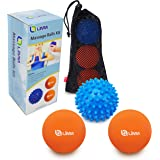 Limm Massage Ball Set (Lacrosse & Spiky Combo) – 2 of 2.5 inches & 1 of 2.8 inches – Best for Feet, Back & Neck – Spiky Ball for Pain Relief & Therapy – Includes FREE Carry Bag