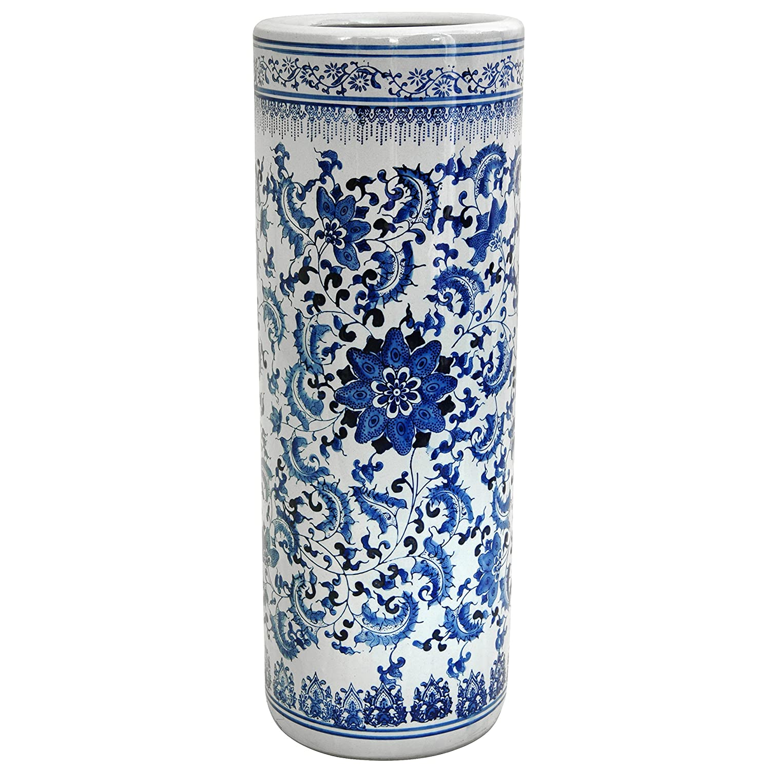 CDM product Oriental Furniture Distinctive Affordable Home Decor Gift Idea, 24-Inch Ming Blue and White Porcelain Oriental Umbrella and Cane Stand, Floral big image