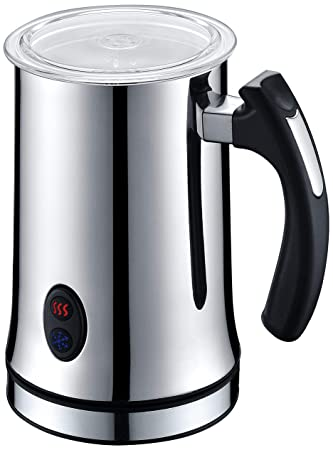 Automatic Milk Frother And Warmer Stainless Steel Insulated Foamer For Hot Cold Coffee Beverages, Quick And Easy To Use, Silent Operation, Cordless Pitcher For Pouring Serving Cappuccino