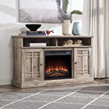 """BELLEZE 48"""" TV Stand Console W/Media Shelves for TVs up to 50"""" Wide with Fireplace and Remote Control, Ashland Pine"""