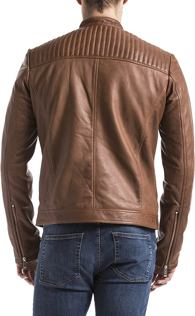 Blue Wellford Mens Leather Jacket Ebro