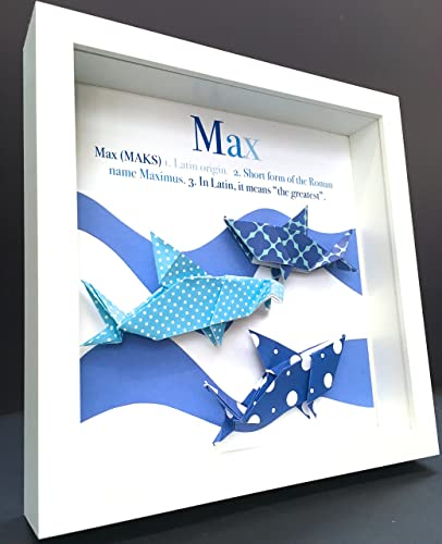 Personalized name origin and meaning baby gift paper origami sharks personalized name origin and meaning baby gift paper origami sharks shadowbox frame custom art newborn baby negle Choice Image