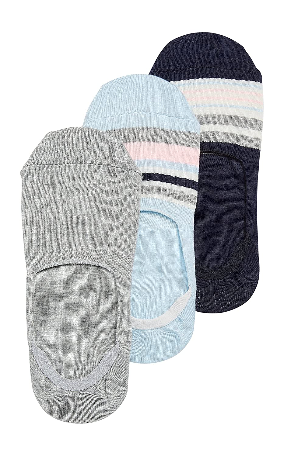 Maurices Women's No-Show Socks With Stripes - 3 Pack One Size Blue Combo