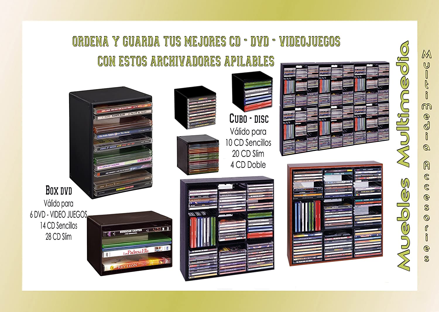 Clements Archivador CuboDics 10 CD (5 unidades para archivar 50 CD Sencillos ó 20 Dobles): Amazon.es: Hogar