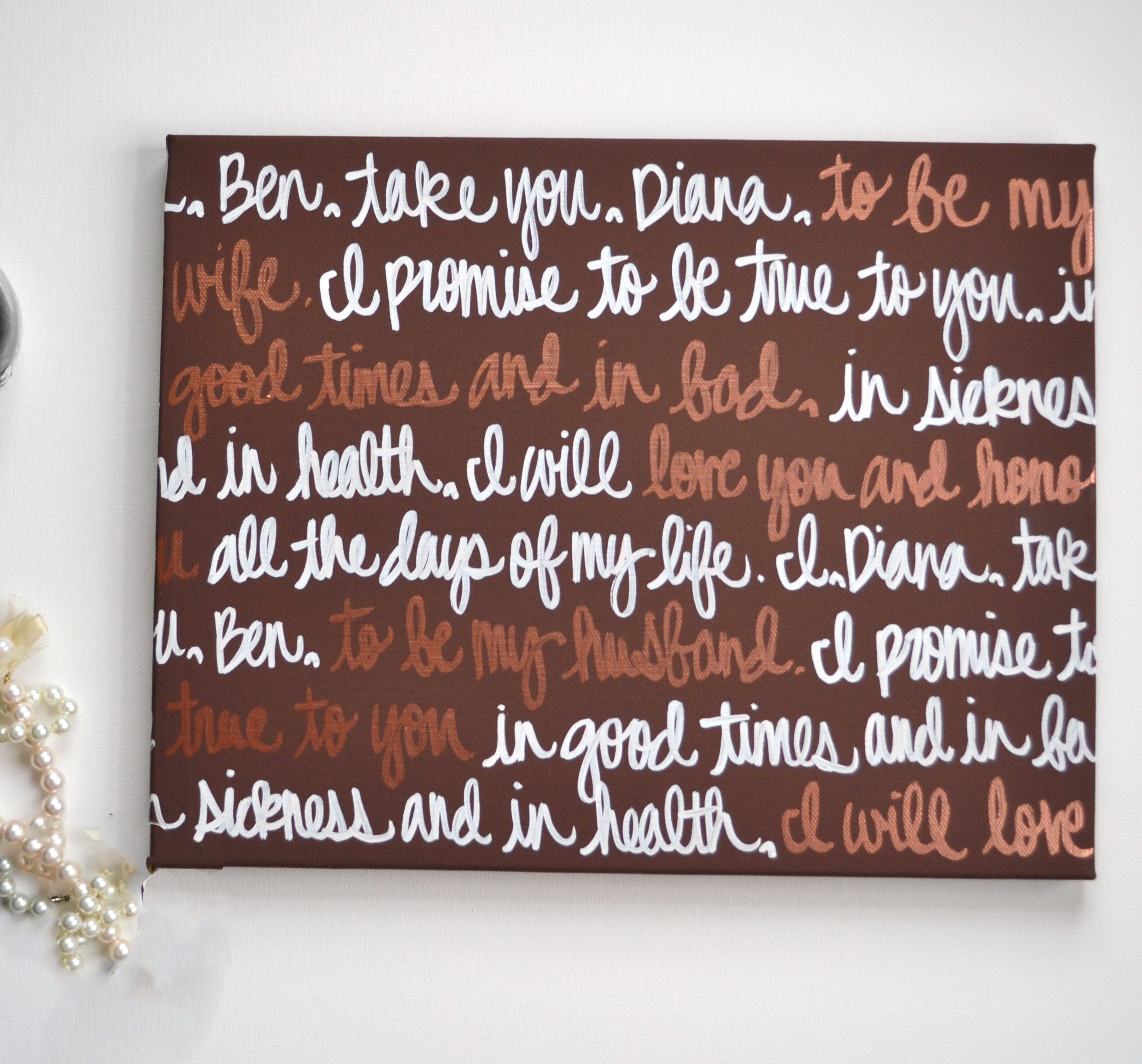 Custom Wedding Vow Canvas Art Wedding Decor Anniversary Gift First Dance Song Lyric Wedding Vows on Canvas Brown and Bronze