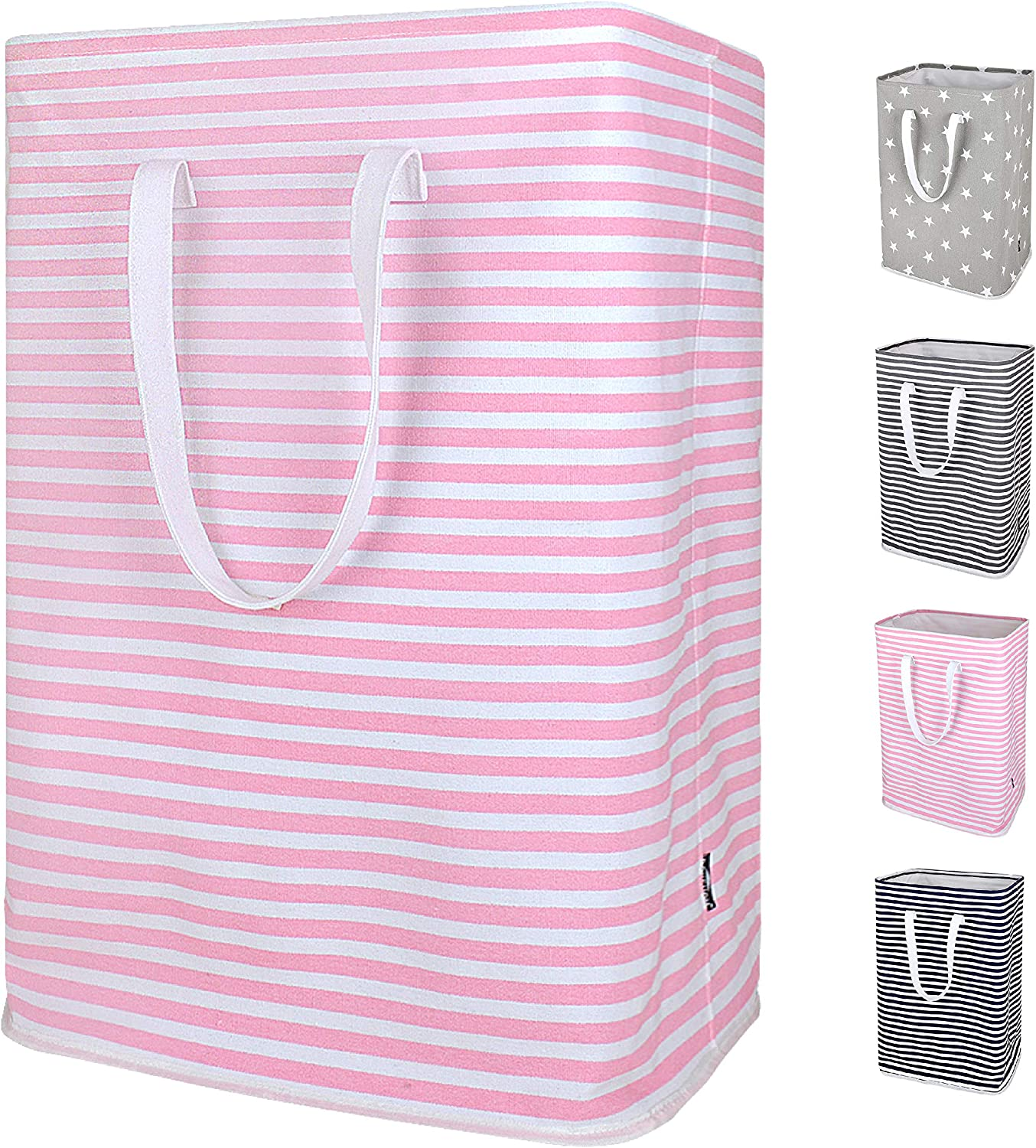 DOKEHOM 24-Inches Thickened X-Large Laundry Basket with Drawstring, Waterproof Square Cube Cotton Linen Collapsible Storage Basket (Pink Strips, XL)