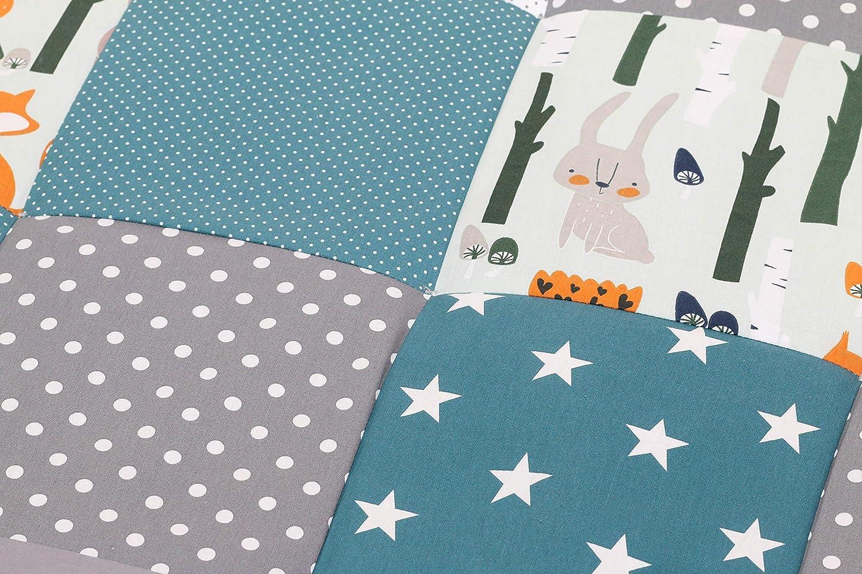 ULLENBOOM /® Baby Krabbeldecke Waldtiere Petrol 100x100 cm Baby Kuscheldecke, ideal als Laufgittereinlage, Spieldecke, Motiv: Punkte, Sterne, Patchwork