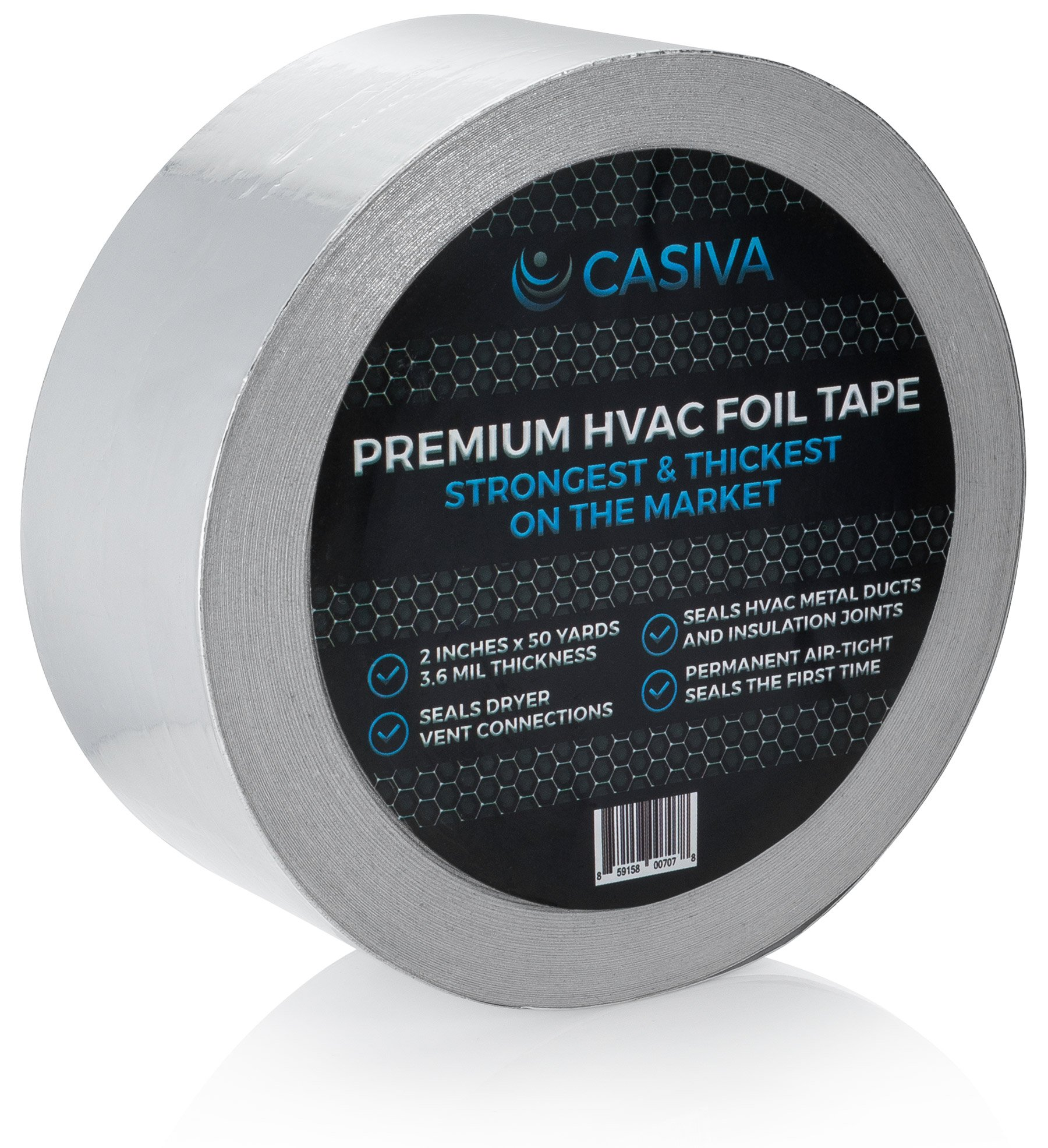 Professional HVAC Tape & Premium Aluminum Foil Tape - Strongest & Thickest - 3.6mil Thickness, 50 Yards, 2'' Width - For Duct Insulation & Metal Sealant