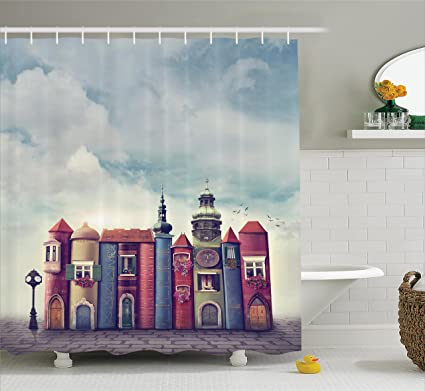 Ambesonne Funny Shower Curtain Fantasy House Decor By City With Old Books Style Buildings Birds