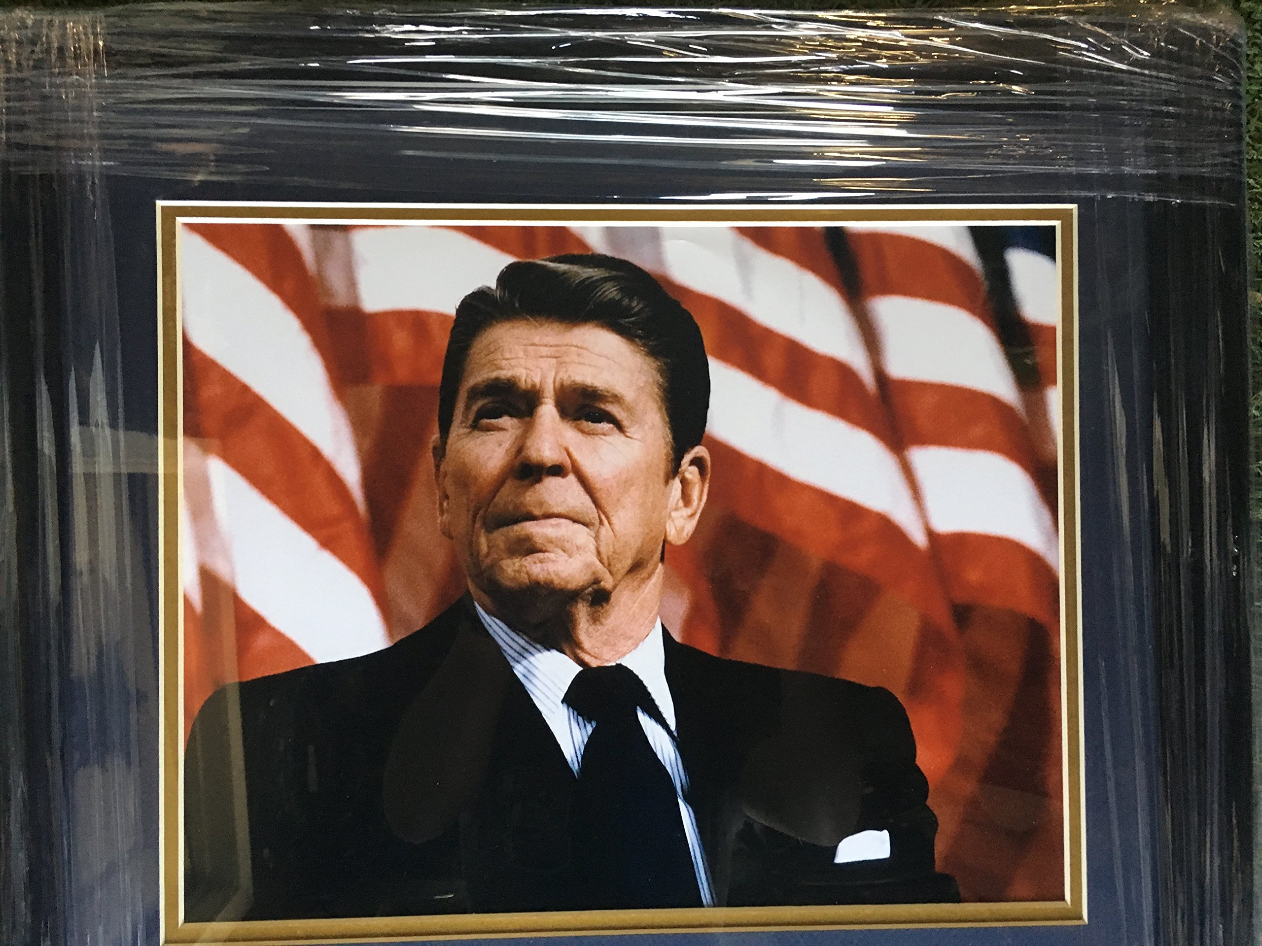 "40th President Ronald Regan Custom Framed Photo with Laser Etched Signature ""The Great Communicator"""