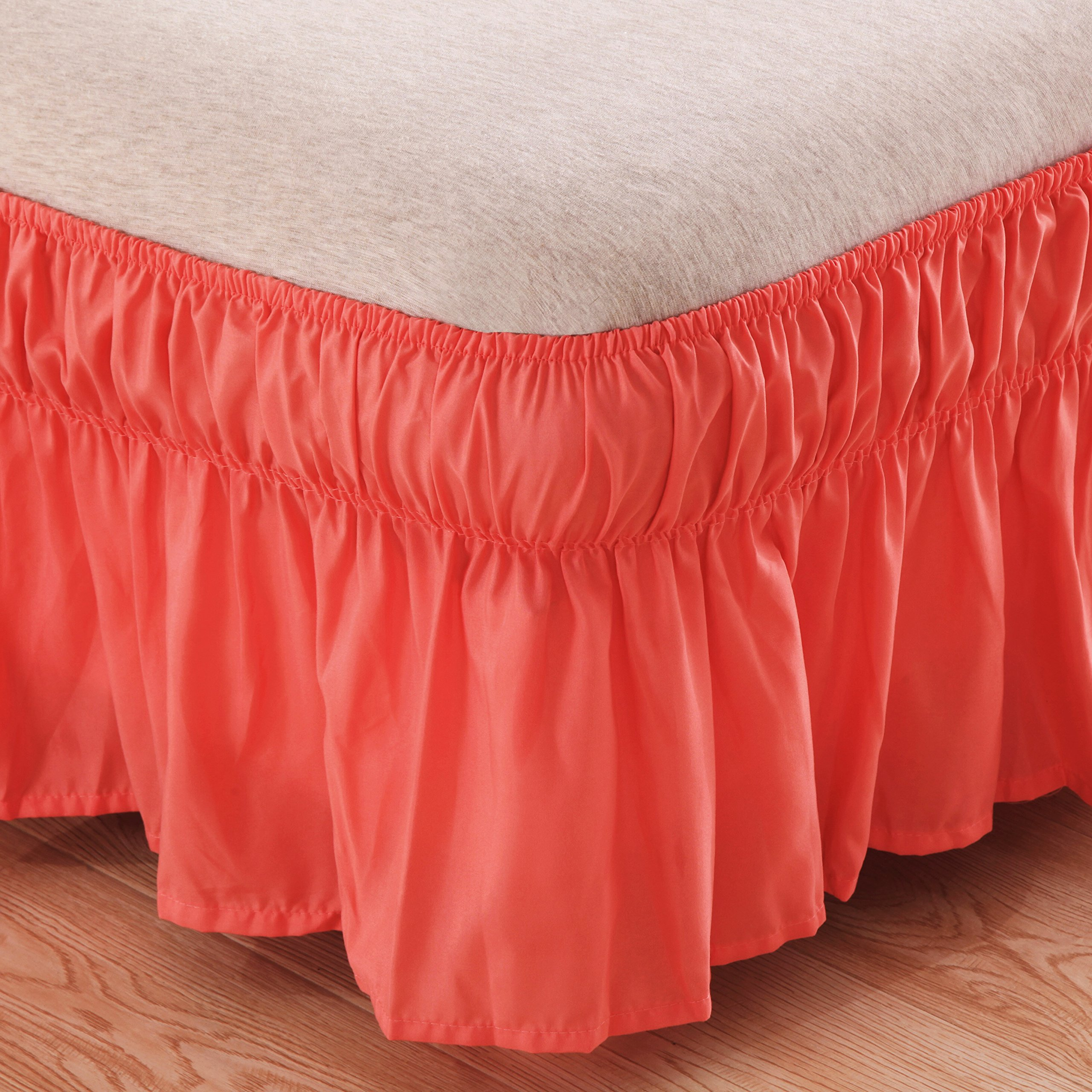 AYASW Bed Skirt-16 Inch Drop Dust Ruffle Three Fabric Sides Wrap Around Ruffled (Queen/King Coral) Brushed Microfiber Adjustable Elastic Easy Fit