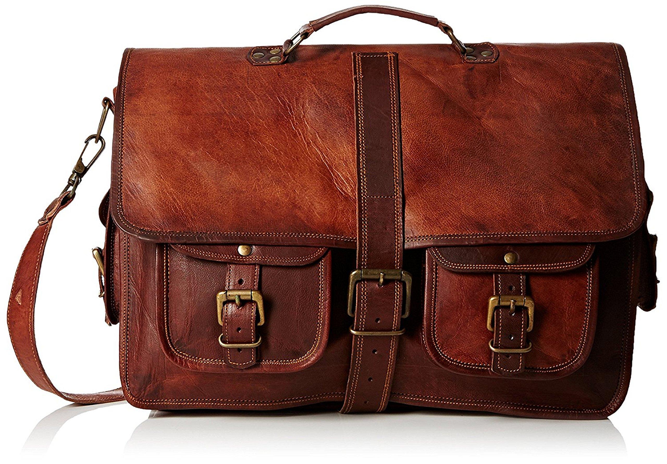 16 '' Laptop Crossbody Travel Messenger Leather Sling Shoulder Vintage Bag