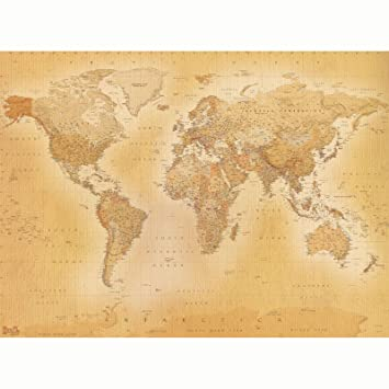 Vintage Old Map Wallpaper Wall Mural - 2.32m x 3.15m by SHH ...