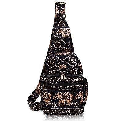 8d1013e2039f MIANZI Women Sling Bag Outdoor Sport Canvas Large capacity Crossbody  Shoulder Cotton Fashion Backpack (Black