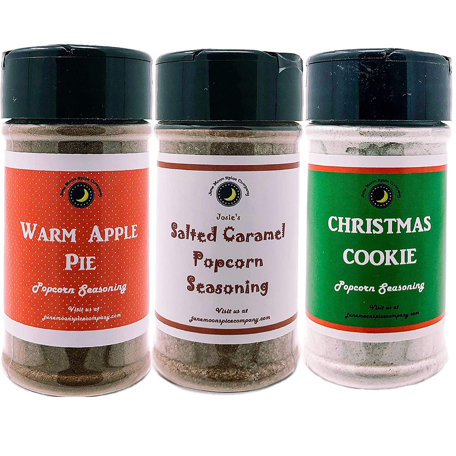 Premium | POPCORN SEASONING | Variety 3 Pack | Salted Caramel | Warm Apple Pie | Christmas Cookie | Crafted in Small Batches with Farm Fresh SPICES for Premium Flavor and Zest | 3.5 oz.
