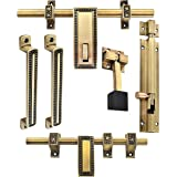 Klaxon Glorious 1 Brass Door Accessories Kit (Antique Finish, 6-Pieces)