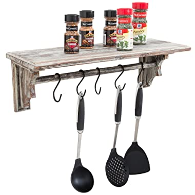 Wall Mounted Torched Wood Floating Shelf with Towel Bar and 5 Removable S-Hooks