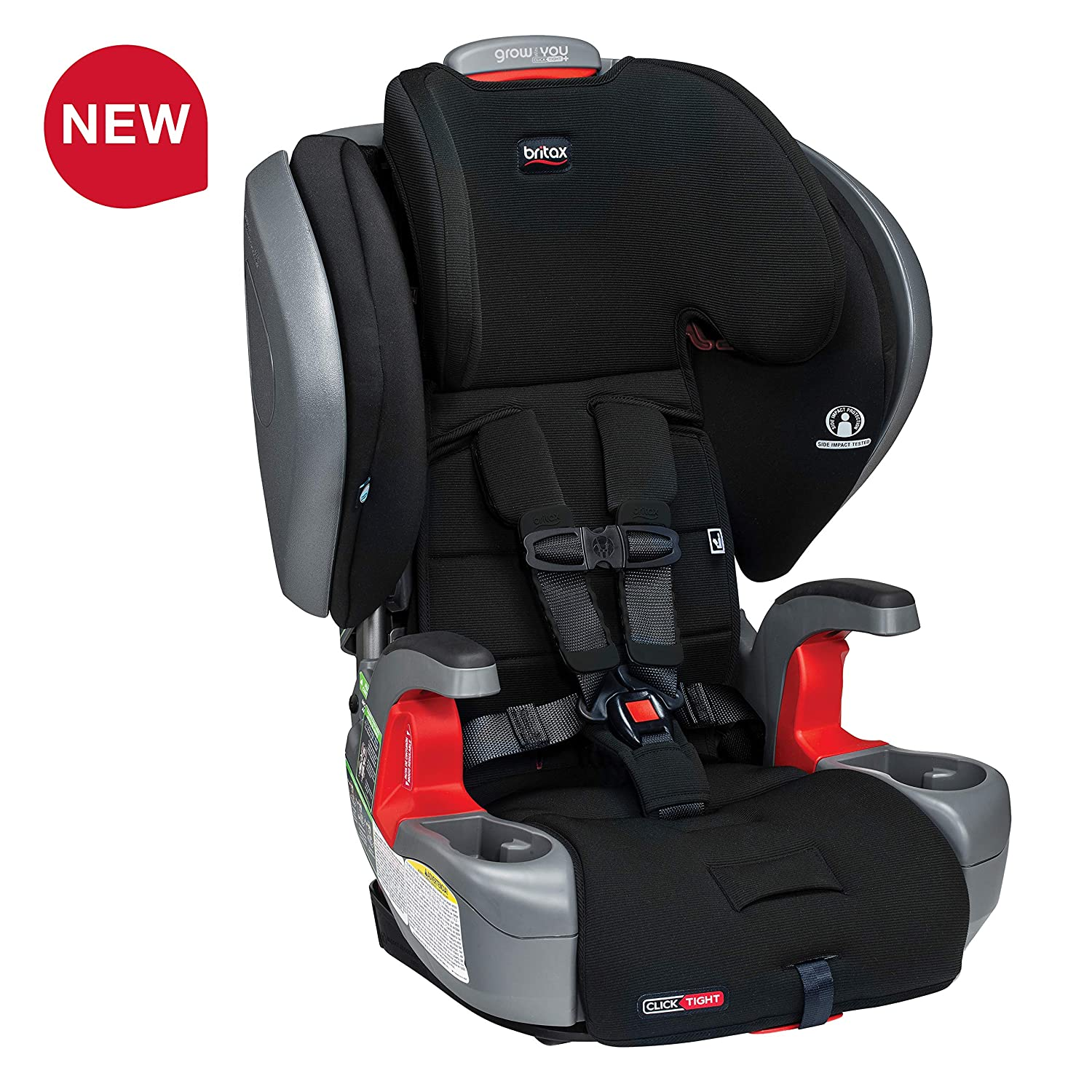 Britax Grow with You ClickTight Plus Harness-2-Booster Car Seat – 3 Layer Impact Protection – 25 to 120 pounds, Jet Safewash Fabric Newer Version of Pinnacle