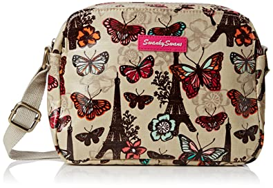 c73f95f3d8787 Swankyswans Damen Noel Paris Butterfly Floral 3 Pocket Umhängetaschen