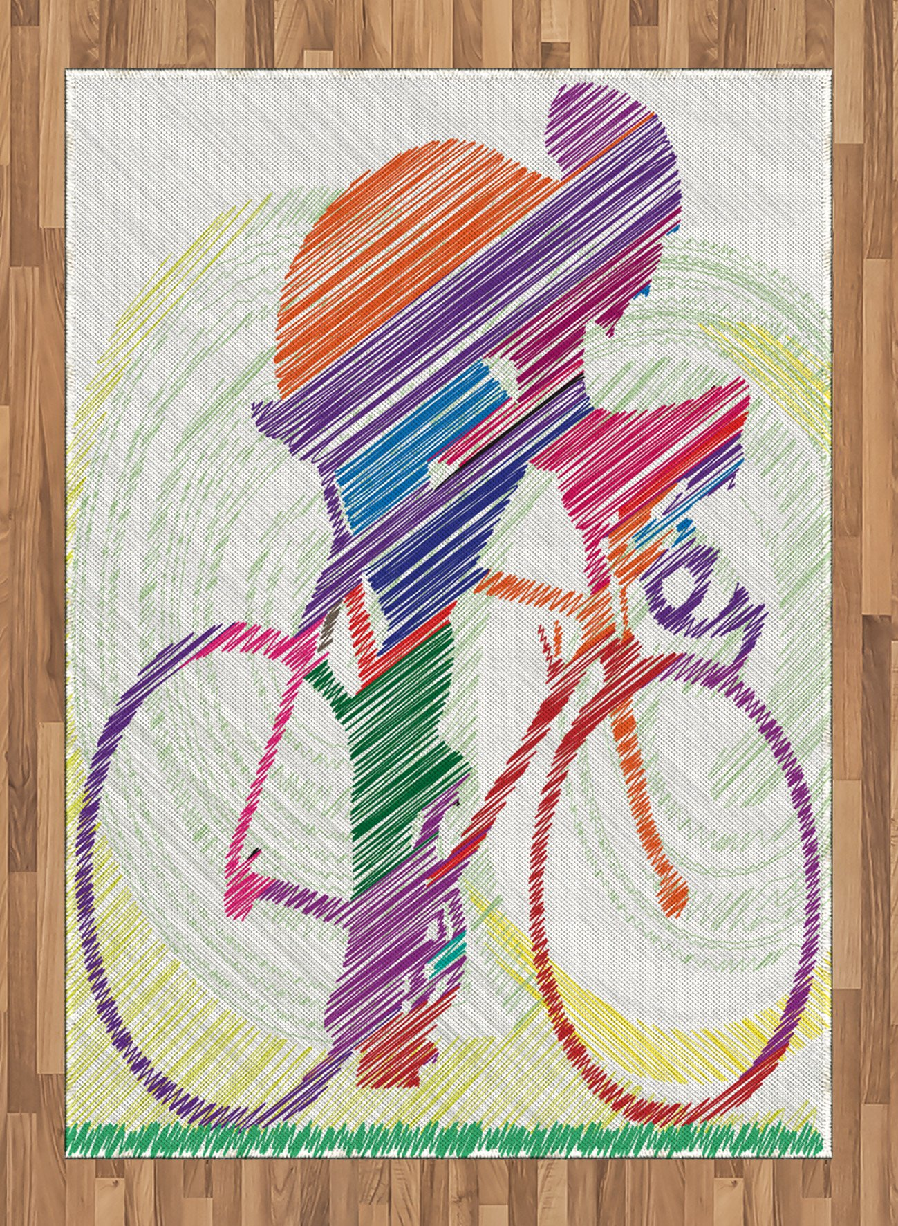 Modern Decor Area Rug by Ambesonne, Sketch Hand Drawn Image of a Cycling Man on a Bike with Sun Grass Artwork, Flat Woven Accent Rug for Living Room Bedroom Dining Room, 5.2 x 7.5 FT, Multicolor