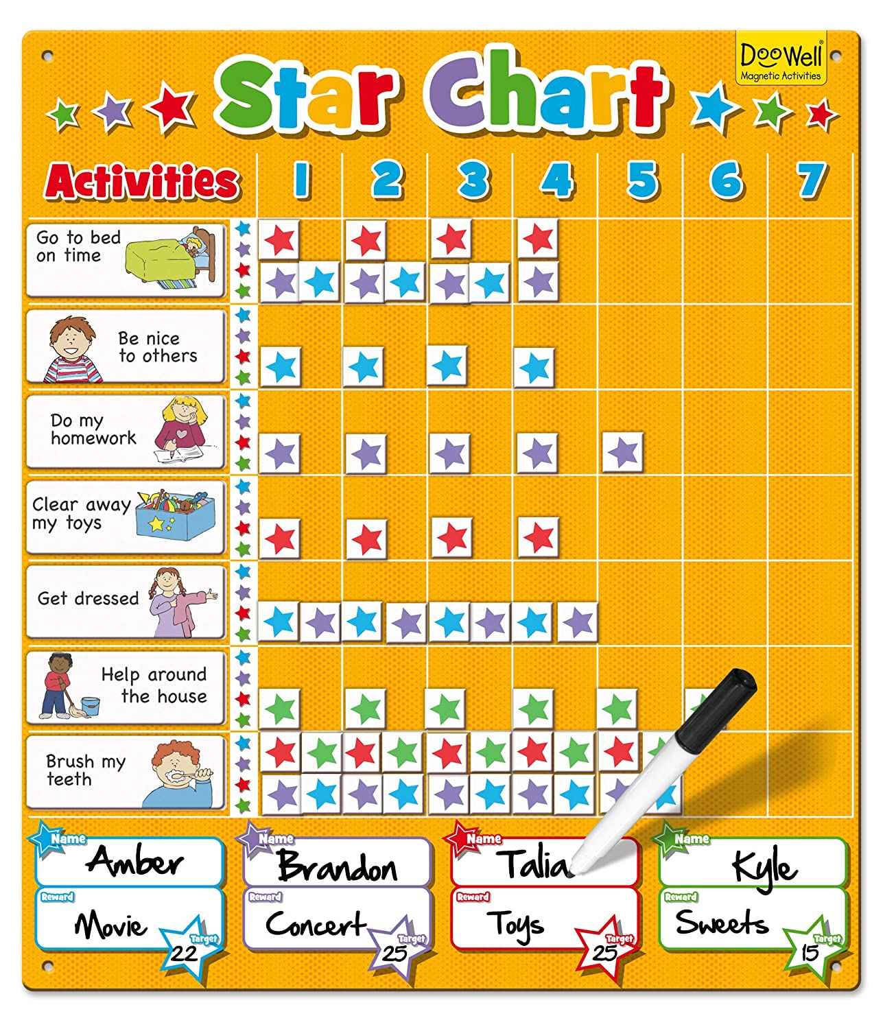 amazon com large star chart by babalu office products