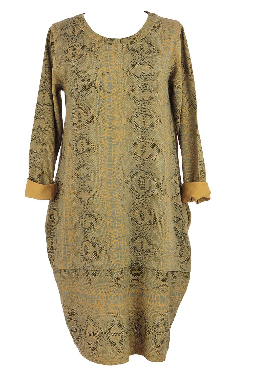 8a4863480867 TEXTURE Ladies Women Italian Lagenlook Long Sleeves Snake Print 2 Pocket  Cotton Tulip Midi Dress One Size (Mustard, One Size): Amazon.co.uk: Clothing