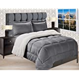 Elegant Comfort Premium Quality Heavy Weight Micromink Sherpa-Backing Reversible Down Alternative Micro-Suede 3-Piece Comfort