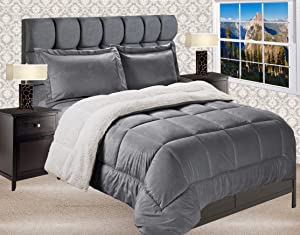 Elegant Comfort Premium Quality Heavy Weight Micromink Sherpa-Backing Reversible Down Alternative Micro-Suede 3-Piece Comforter Set, Queen, Grey