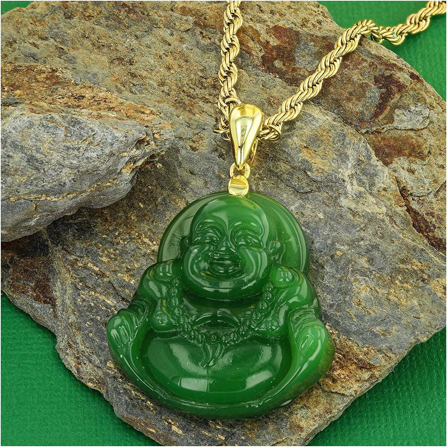 Buddha Necklace Green Jade Mens Womens Luck Happy Green Jade Buddha Pendant Laughing Buddha Statue 14k Gold Bonded Rope Chain Necklace Pendant Certified Grade A Jadeite Jade Hand Crafted Jade Neckalce