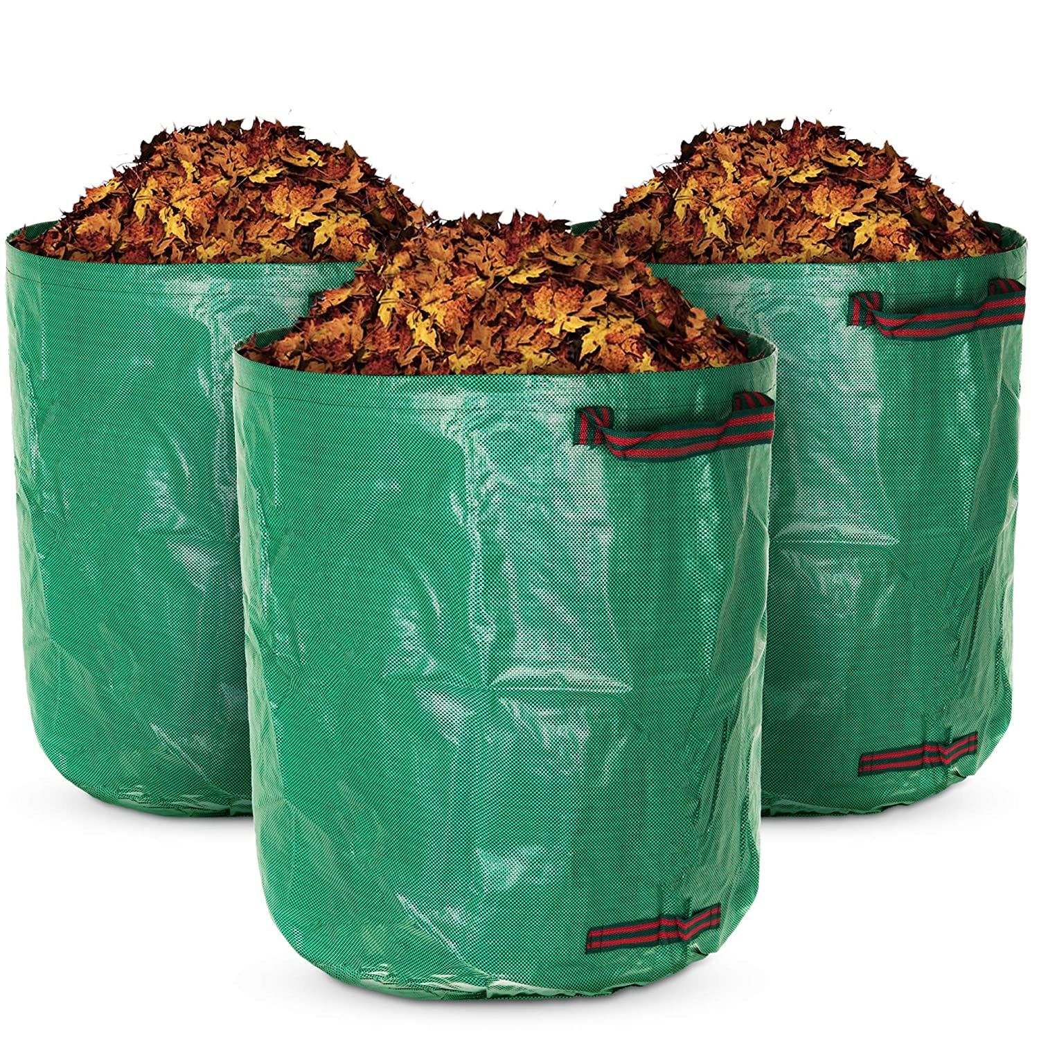 60 Litre LIVIVO Set of 3 Premium Heavy Duty Reusable Garden Waste Bags with Extra Secure Handles and Strong Flexible Hoop to Increase Stability