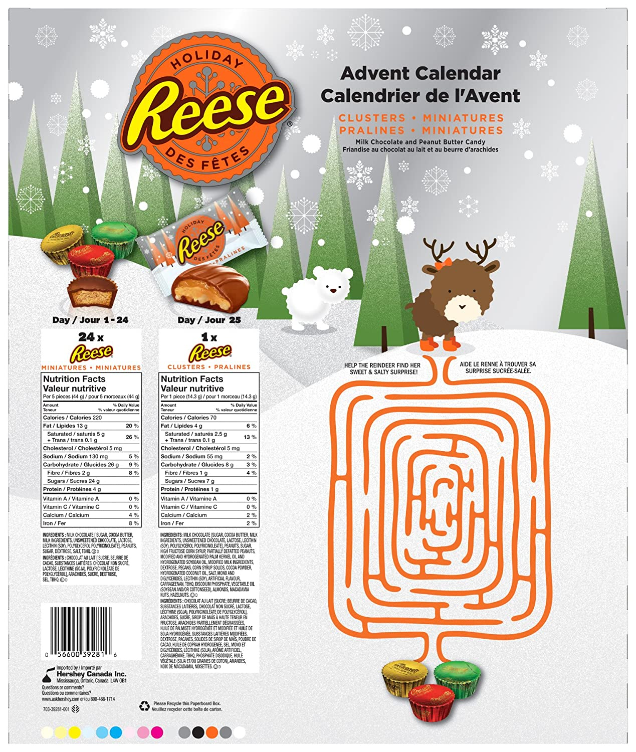 REESE Christmas Advent Calendar with Peanut Butter Chocolate Candy ...